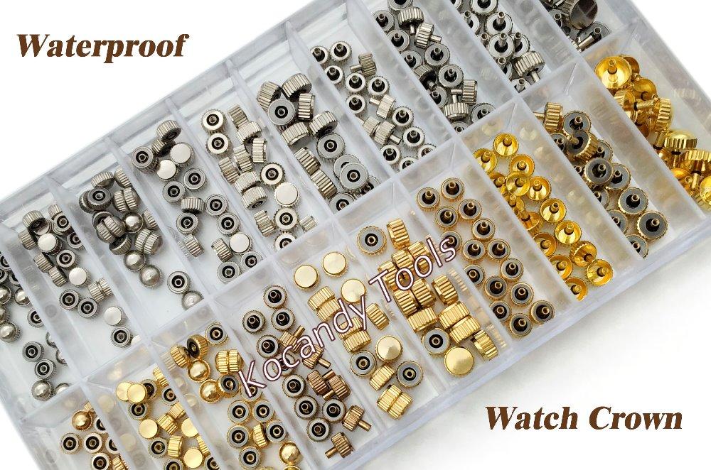 Prix pour Étanche montre couronne pièces de rechange assorties or & argent Dome tête plate montre accessoires Kit de réparation outil pour horloger
