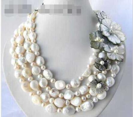 4Strands 18'' 13mm White Round Baroque Freshwater Pearl Shell Flower Necklace >Dongguan girl Store free shipping цена
