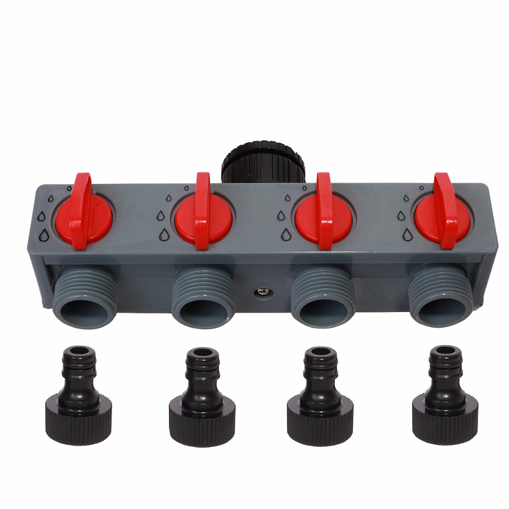 Distribuidor de agua de 4 vías adaptador de grifo ABS conector de plástico divisores de manguera para tubo de manguera grifo de agua #27208