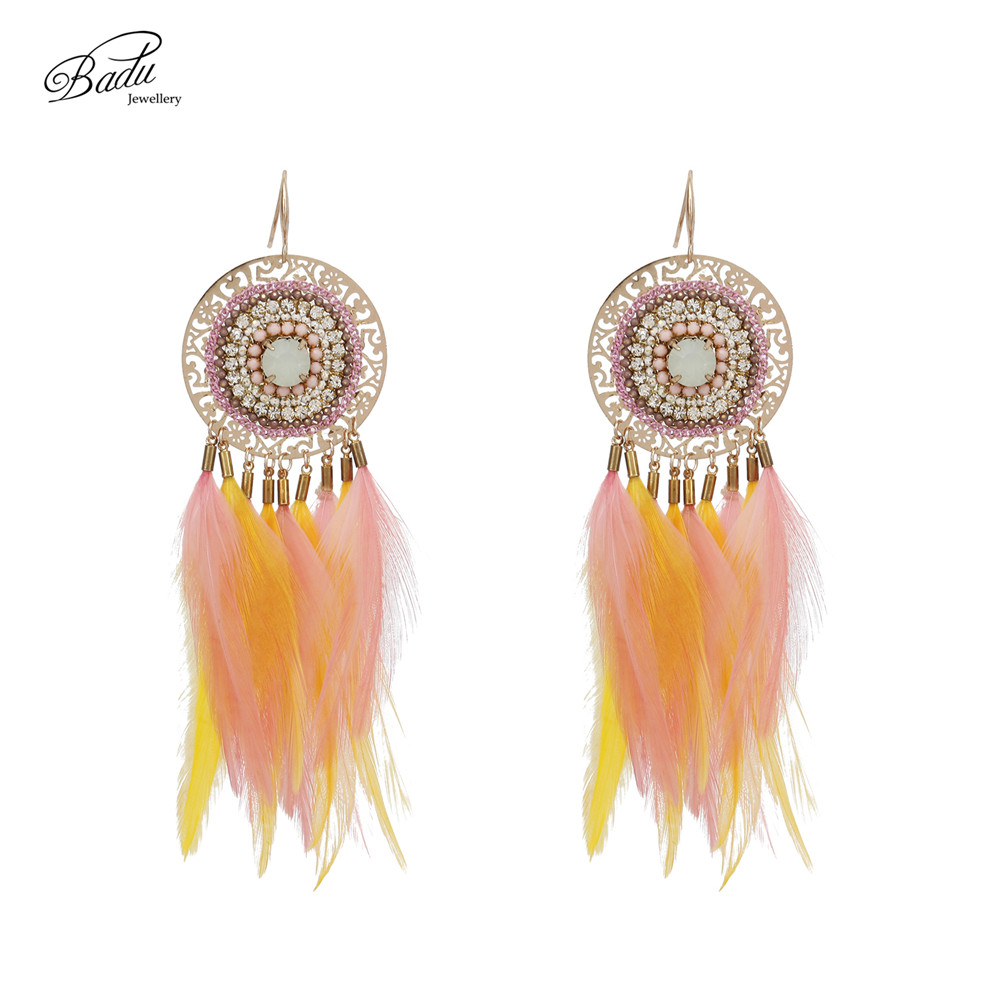 [Clearance] Badu Pink Feather Earrings Women Indian Style Gold Filigree Earring Ethnic Jewelry 2017 Holiday Gift