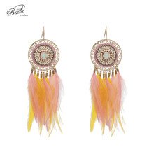 Badu Handmade Women Colorful Real Feathers Ethnic Vintage Retro Hook Earring Jewelry for Christmas Halloween Black Friday Party