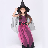 Halloween Costume For Kids Witch Costume Elegant Mesh Long Dress And Witch Hat Suit Halloween Girls