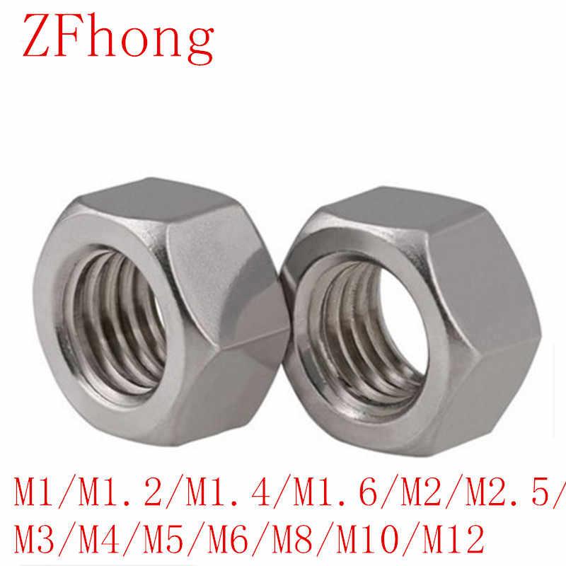 50ชิ้นกระทู้เมตริกM1/m1.2/m1.4/m1.6/m2/m2.5/m3/m4/m5/m6/m8/m10สแตนเลสถั่วHex DIN934หกเหลี่ยมอ่อนนุชสกรูถั่ว