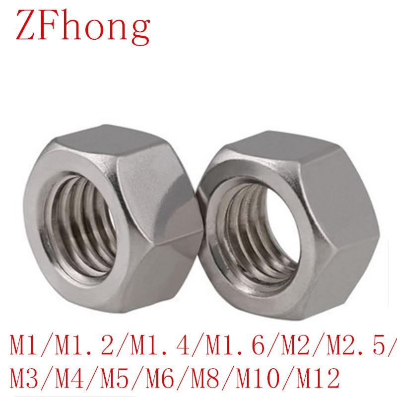 50 шт. Метрическая резьба M1/m1.2/m1.4/m1.6/m2/m2.5/m3/m4/m5/m6/m8/m10 шестигранные гайки из нержавеющей стали DIN934 Шестигранная стандартная
