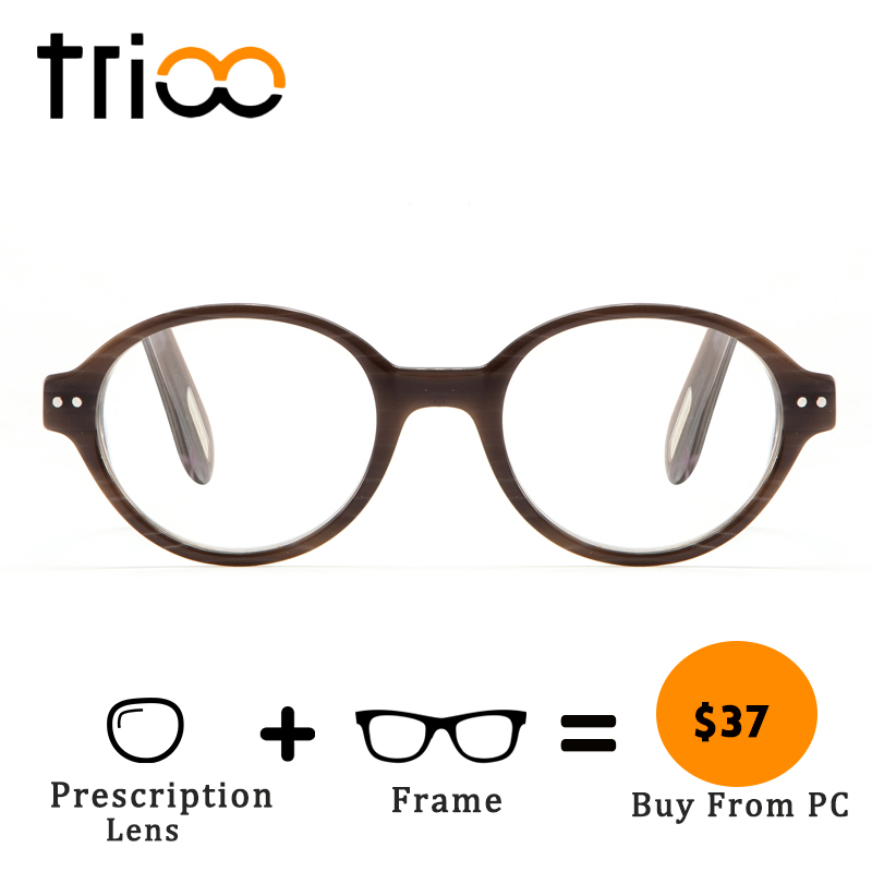 TRIOO Round Prescription Glasses Acetate Wooden Pattern Eyeglasses Vintage Retro Reading Minus Eye Glasses Clear Myopia