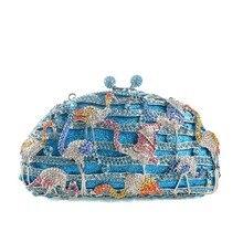 2016 New Elegante Blaue Frauen Einzigartige Handtasche Kran Muster Handtasche Pochette Abendgesellschaft Tasche