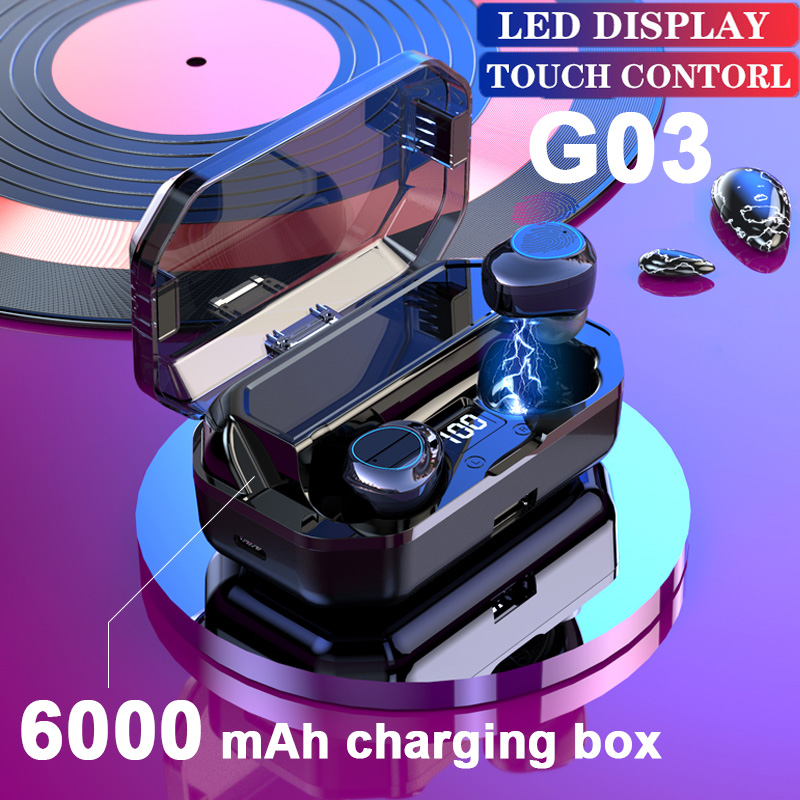 Yulubu New G03 Earphone Wireless <font><b>6000mAh</b></font> LED Smart Power Bank TWS 5.0 Bluetooth 9D Stereo IPX7 Waterproof PK G02 for <font><b>Smartphone</b></font> image