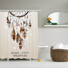 Native American Southwest Decor Shower Curtain Never Stop Dreaming Feathers And Colorful Beads For Good Luck