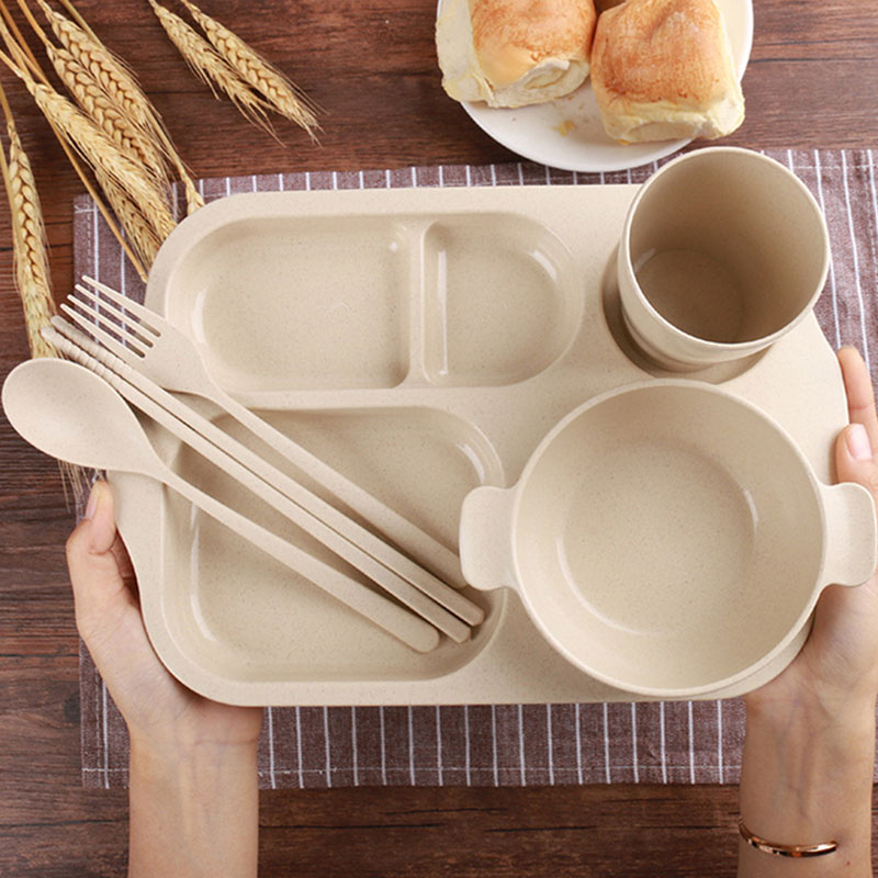 Children Feeding Plate Set Kids Dinnerware Baby Tray Wheat Straw Food Container Toddler Dishes With Fork Spoon Utensils T0529-in Dishes from Mother \u0026 Kids ... & Children Feeding Plate Set Kids Dinnerware Baby Tray Wheat Straw ...