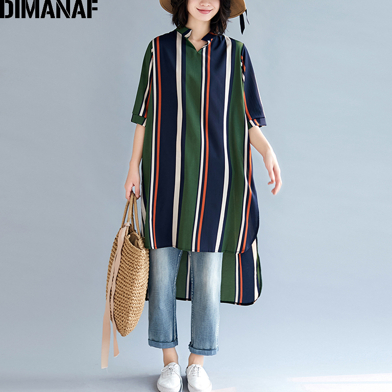 DIMANAF Plus Size Women   Blouse     Shirts   Chiffon Summer Lady Tops Tunic Basic V-Neck Female Clothes Loose Casual Print Striped 2019