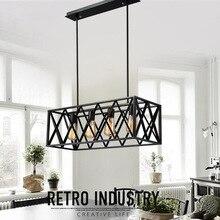 Iron square rack  lighting 4 E27 bulbs pendant light glass box iron grid lamp