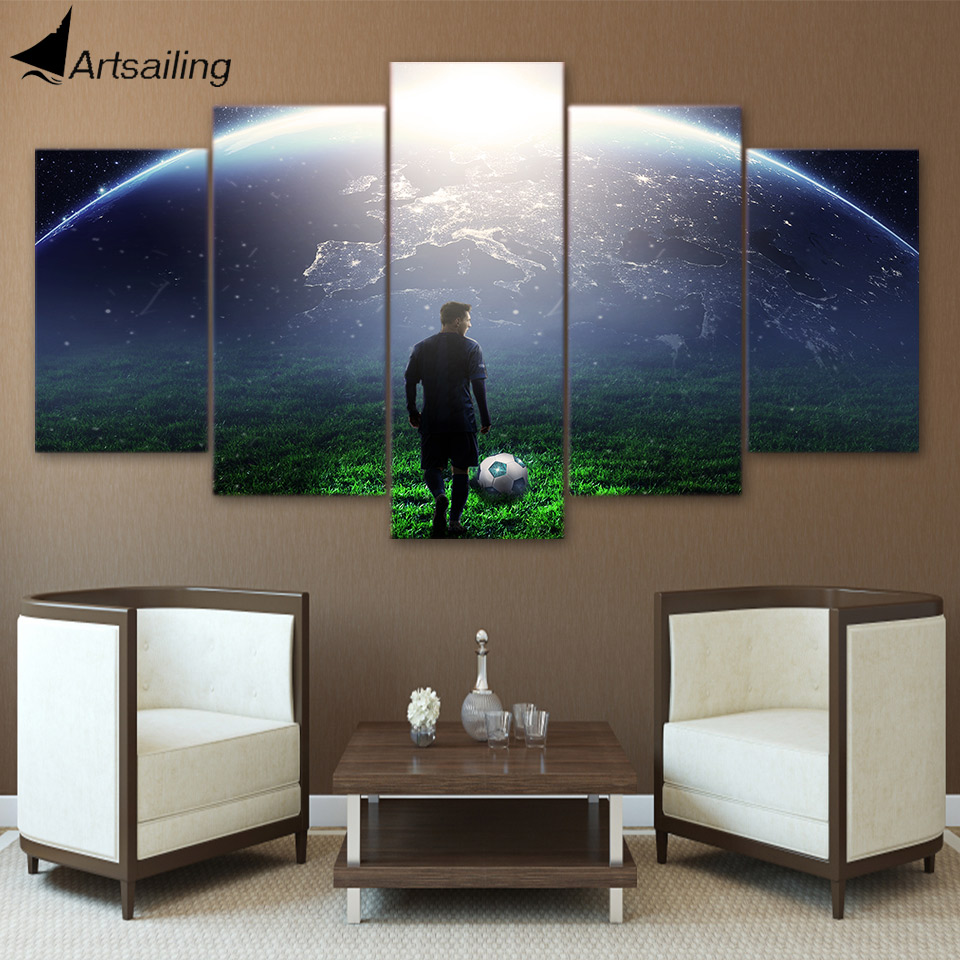 HD Printed 5 Piece Canvas Art Soccer Match Painting Aurora Wall Pictures for Living Room Modern Free Shipping CU-2889C