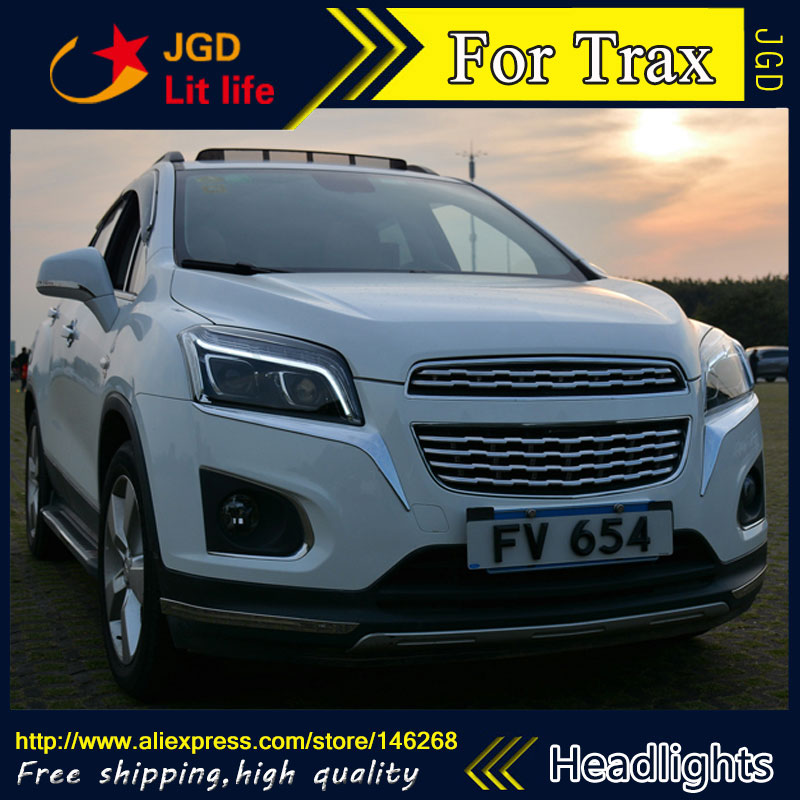Free shipping ! Car styling LED HID Rio LED headlights Head Lamp case for Chevrolet Trax Bi-Xenon Lens low beam  free shipping car styling led hid rio led headlights head lamp case for chevrolet camaro bi xenon lens low beam