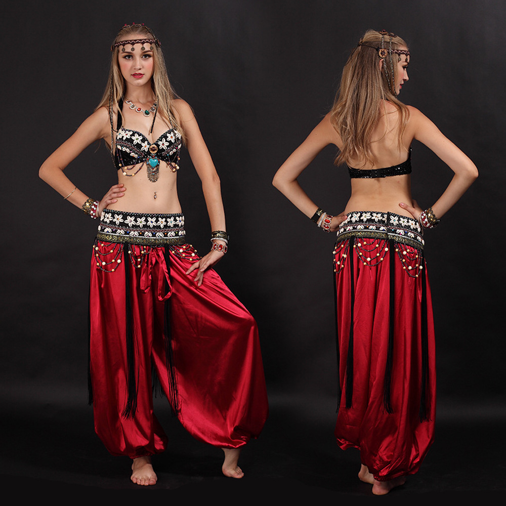 Egyptian Women Belly Dance Costume Set Bra Belt Pants 3 Pieces Arabic Tribe Costumes Oriental Eastern