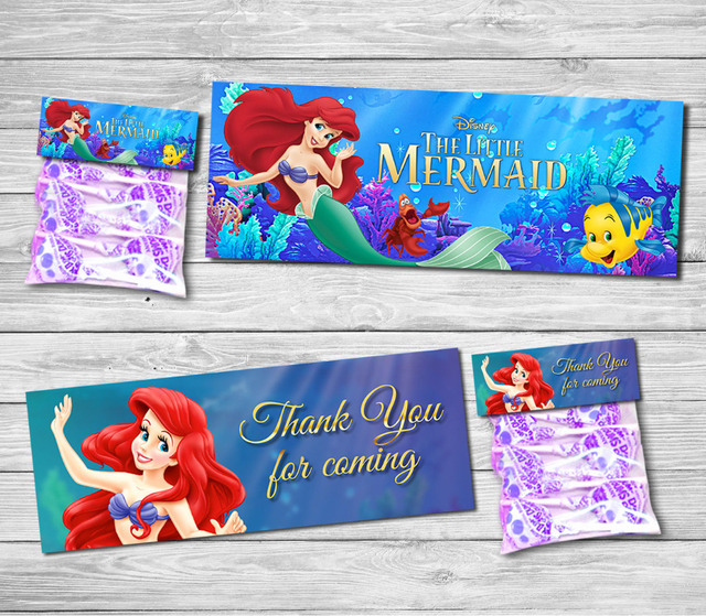 Princess Little Mermaid Bag Toppers Food Labels Baby Shower Birthday Party Decorations Kids