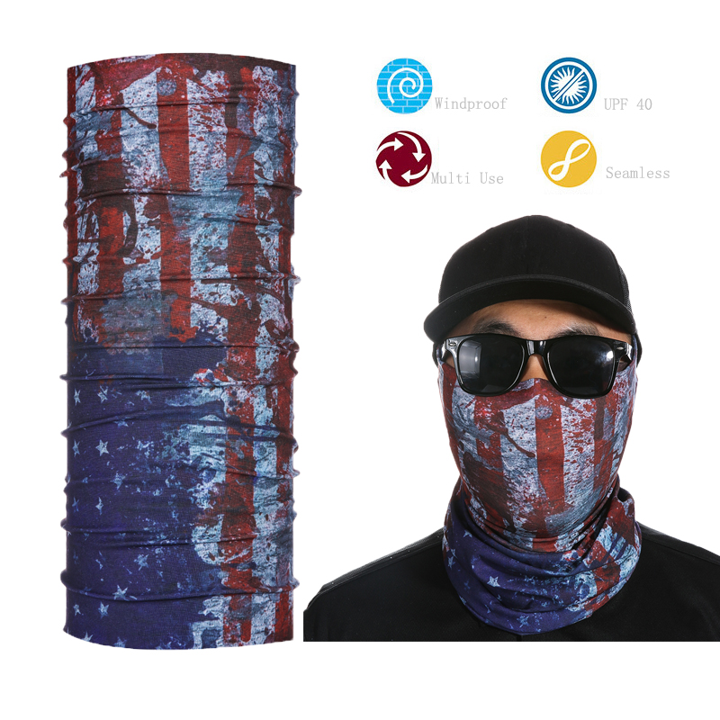 3D Design American Flag Magic Headband US Outdoor Sunscreen Seamless Bandana For Unisex USA Flag Cycling Multifunction Bandana