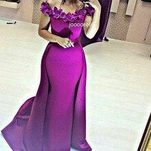 Lange Matte Satin Lila Arabische Abendkleid 2016