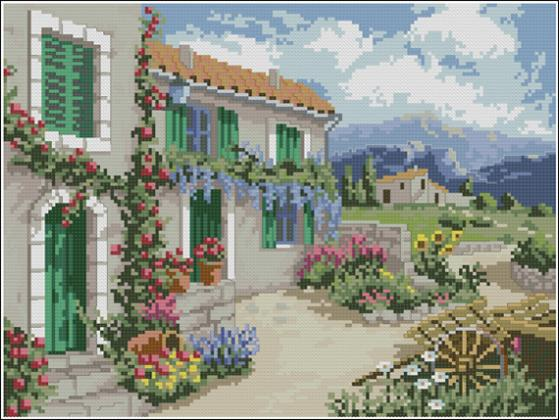 Fishxx Cross-Stitch,C660scenery[prairie flower house]study adornment printing,100% accurate pattern,11CT,