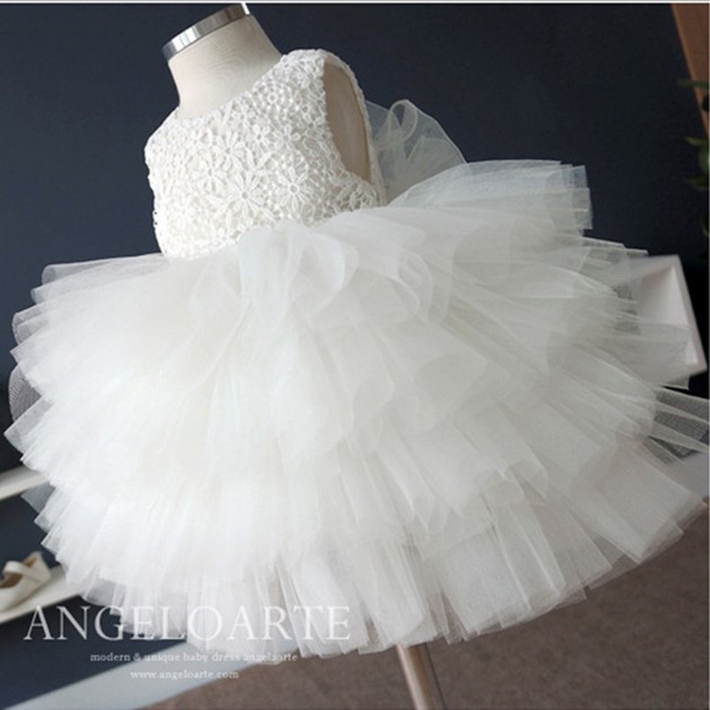 White Lace Puffy Pageant Prom Dresses For Teenagers Flower Girls Communion Dresses Toddler Party