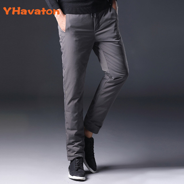 YHavaton Mens 90% White Duck Cold-proof Pants 2020 Winter Straight outside wear Business Pants Warm Duck Down Padded Trousers 2