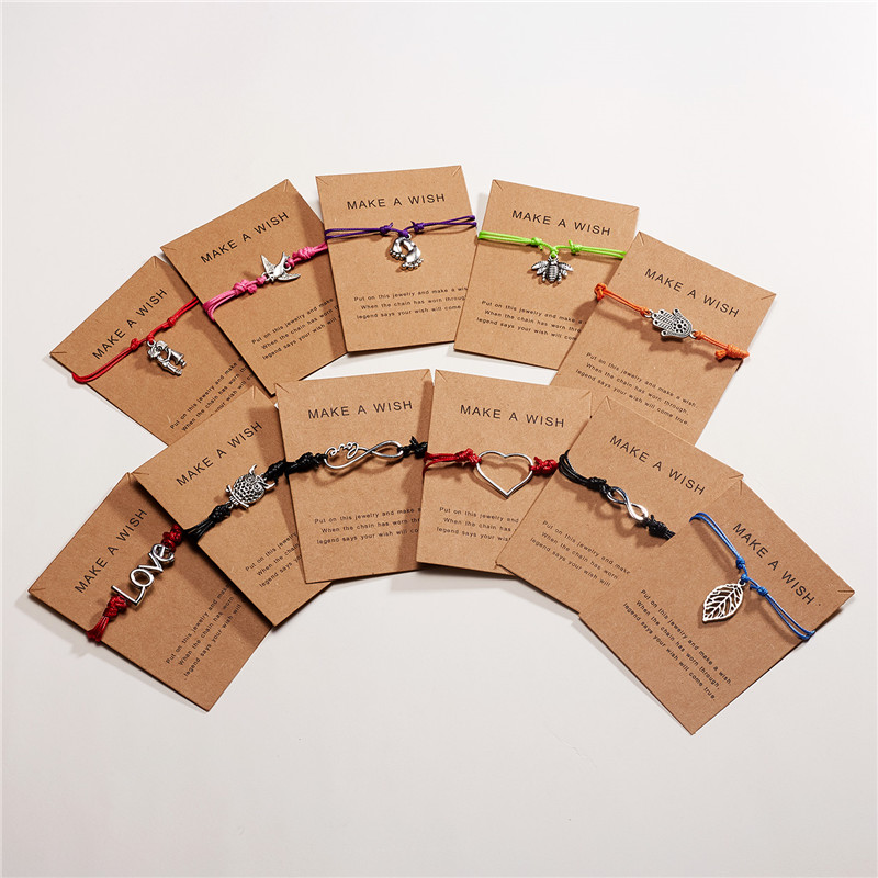 Rinhoo 10*7.5cm Make A Wish Paper Card Adjustable Animal Plant Pendant Woven Bracelet For Women's Fashion Jewelry Gift
