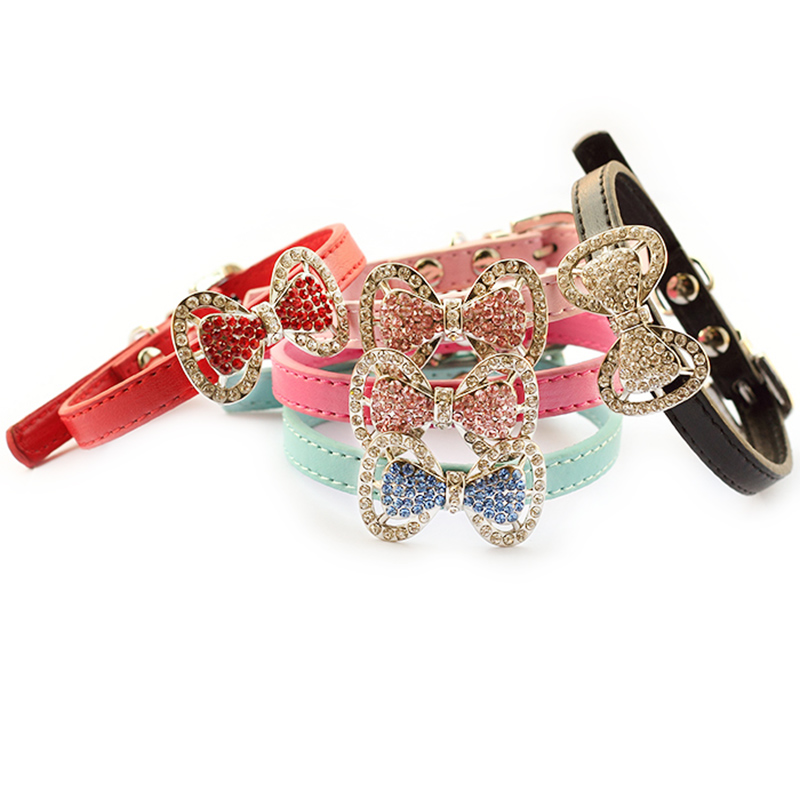 Armi store Fashion Rhinestone Bow Dog Collar Dogs Cat Princess Collars 6041012 Pet Leashes Accessories