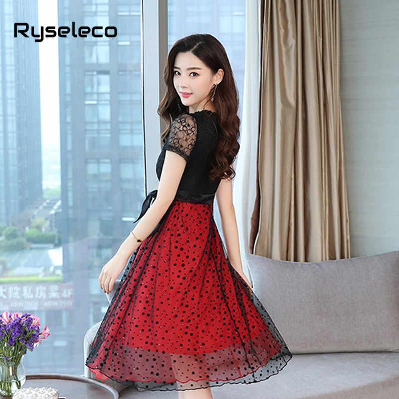 Женские элегантные черные Красные кружевные платья с коротким рукавом с цветочным рисунком летние модные тонкие сексуальные качели в горошек сетчатые патчи с бантом повседневные платья