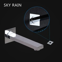 SKY RAIN Bathroom Accessories Tub Spout Wall Mounted Chrome Finish Brass Square Faucet Spout wholesale and retail promotion polished chrome brass square waterfall spout bathroom tub faucet w hand shower