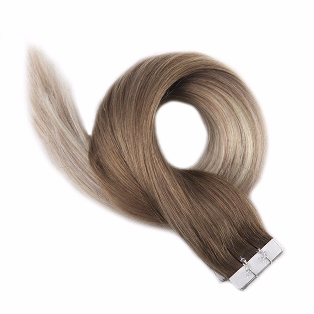 Full Shine Tape In Human Hair Color #8 Ash Brown Fading To Blonde 60 And 18 Remy Hair 40 Pcs 100g Tape In Extensions Cheveux