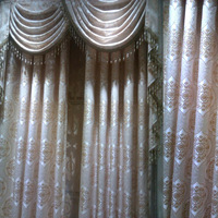 home application embroidery lace golden curtain bright blinds finished curtain tulle room window wave valance cheap home textile