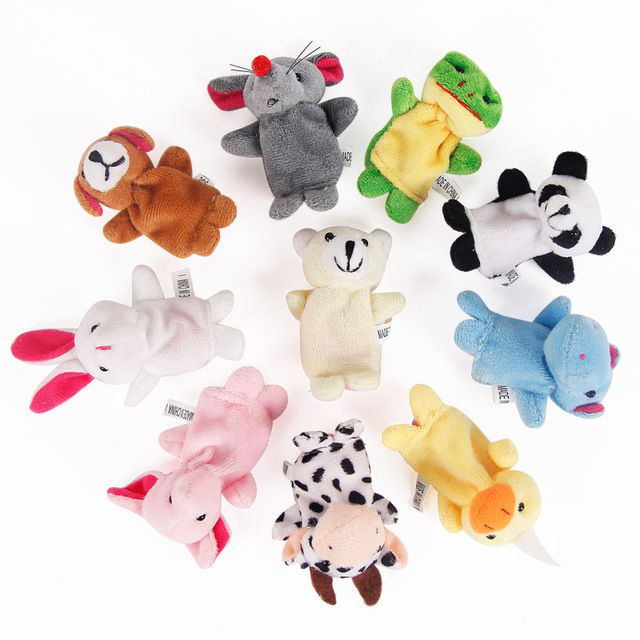 10pcs Cartoon Animal Finger Puppets Plush Toy for Story Telling