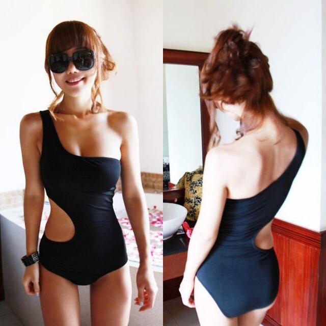 2017 Sexy Womens One Shoulder One-Piece Suits Swimsuit Padded Bodycon Bikini Mesh Swim Suit Hollow Solid Black Beachwear