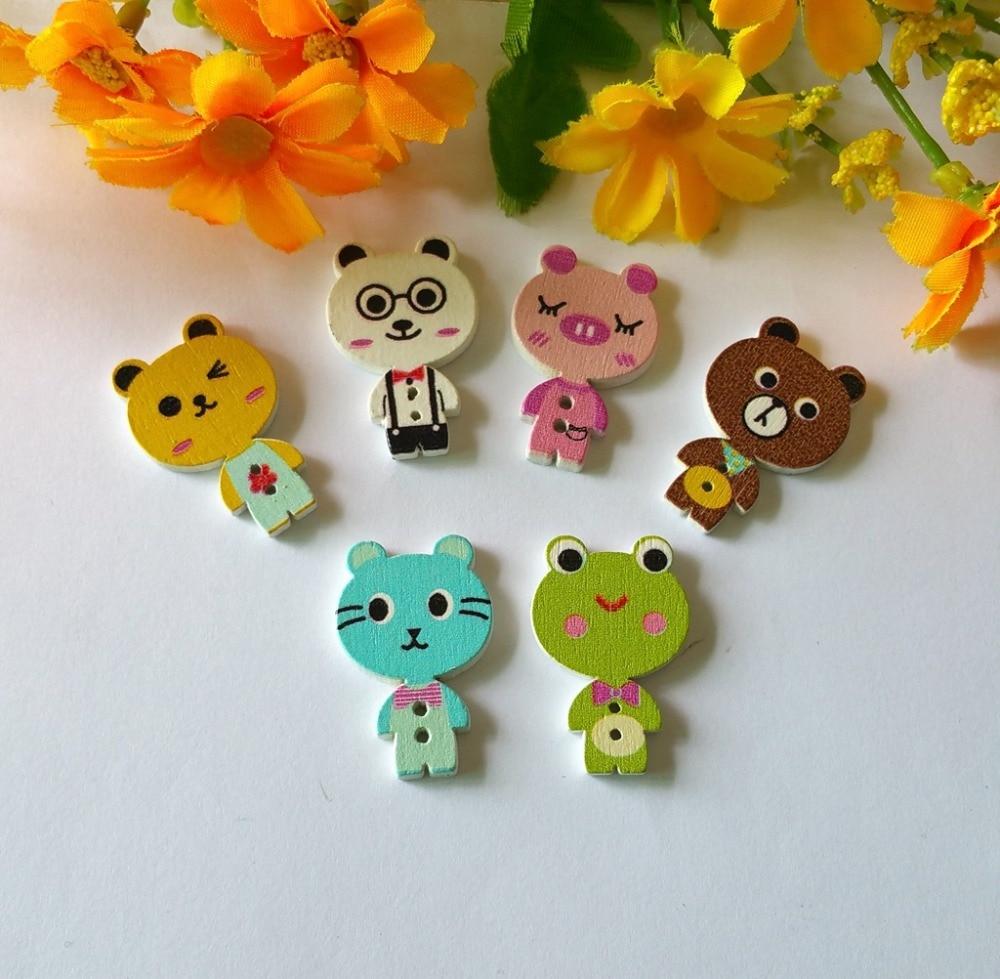 20 pieza de madera botones 35mm alrededor de 4 hoyos botón botones marrón joyas coser bricolaje