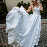 2019 Sexy Spaghetti Straps Open Back Wedding Dress 2019 White Satin A line Beach Bridal Gowns Cheap Made in china Custom Made