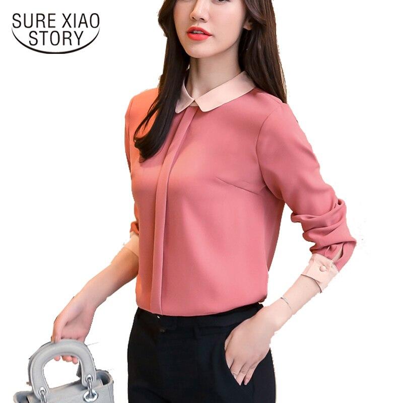b972a0ff7b30 New chegou 2019 outono mulheres blusas camisa de manga longa roupas de moda  feminina senhora do escritório blusa Carmim sólidos tops d361 30