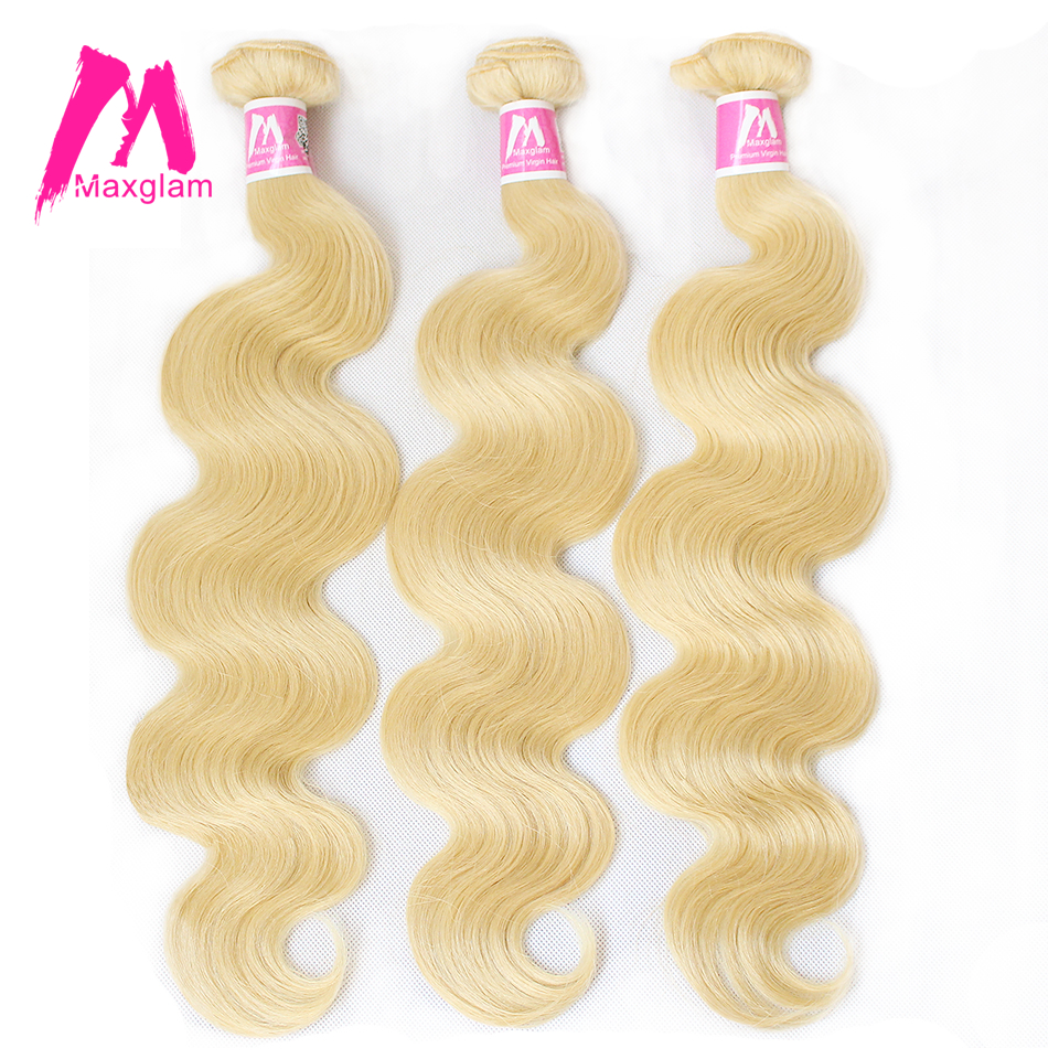 Maxglam 613 Blonde Brazilian Hair Bundles Body Wave Remy Human Hair Weave Extension 1PC Free Shipping