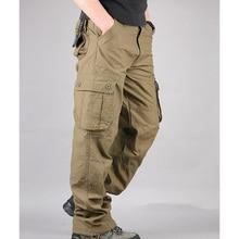 Мужские брюки-карго, повседневные мужские штаны с несколькими карманами, военный комбинезон, мужские уличные длинные брюки, 30-44 плюс размер