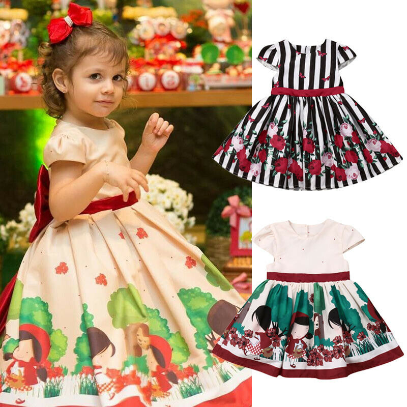 Toddler Kids Baby Girls Floral Party Pageant Princess Bridesmaid Gown Tutu Dress