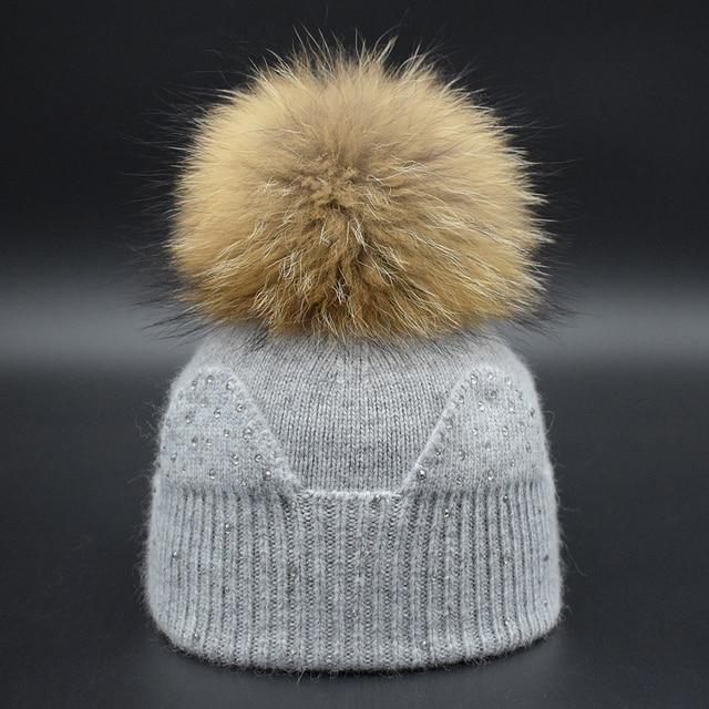 De luxo da marca Crianças Inverno Quente Gorros de Crochê Chapéu para  Meninas Grandes verdadeira Pele e7c565041ac