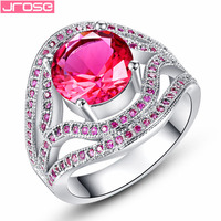 JROSE Gorgeous Classic Wedding Jewelry Ruby Spinel Women 18K White Gold Plated Ring Size 6 7