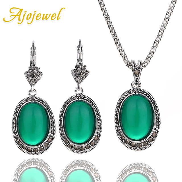 Ajojewel Artificial Costume Jewelry Set Black Cz Oval Stone Green Drop Earrings Necklace Sets For Women
