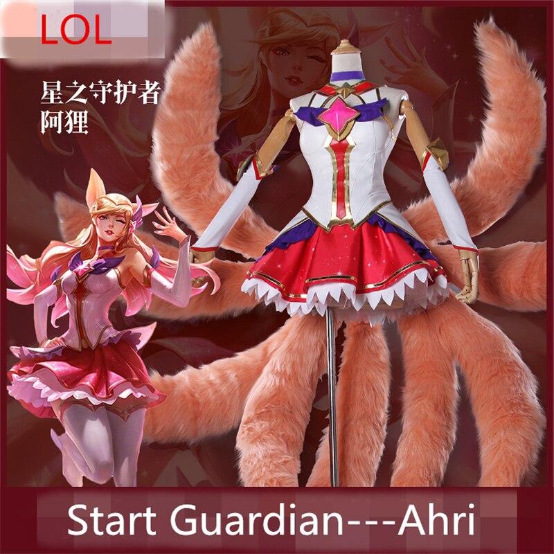 LOL Star Guardian the Nine-Tailed Fox Ahri Skin Cosplay Costume New Women Dresses Dress+Headdress+Socks+Gloves