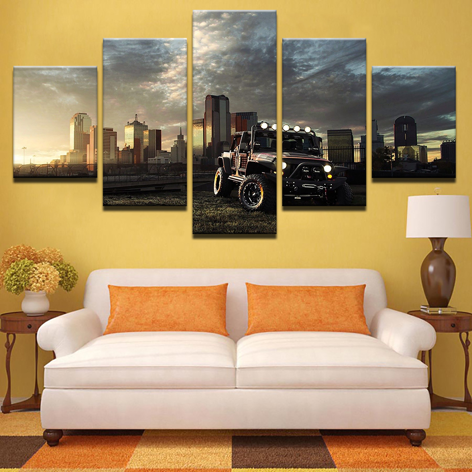 Painting Canvas Modular Decoration Home Decor Frame 5 Panel City ...