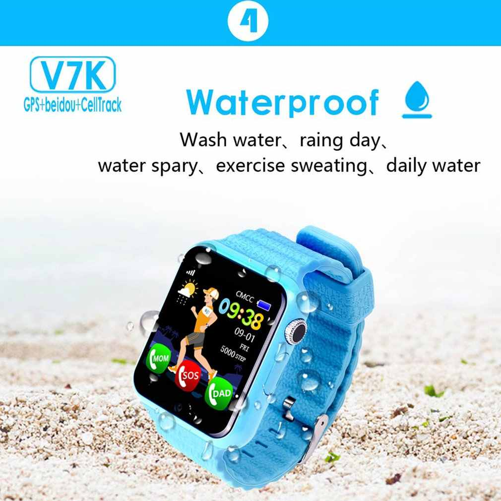 V7k Children Smart Watch GPS Tracker Anti Lost Monitor SOS Call Children's Smart Camera Phone Watch 1.54 Inch Screen