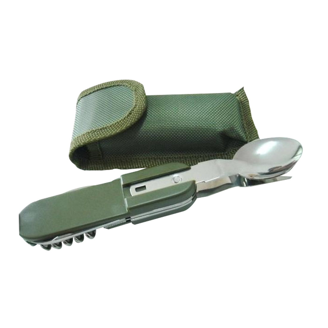 Camping Equipment	 Army Green Folding Portable Stainless Steel Camping Picnic Cutlery Knife Fork Spoon Bottle Opener