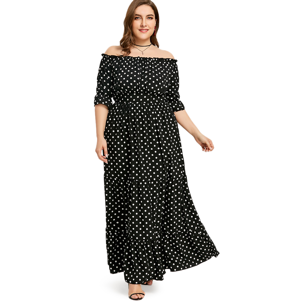 Gamiss Plus Size Off-The-Shoulder Polka Dot Maxi Dress 2018 Summer Long  Women 6412421eb9fe