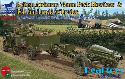 Bronco model CB35163 1/35 British Airborne 75mm Pack Howitzer 1/4 Ton Truck w/Trailer plastic model kit bronco model cb35020 1 35 german land wasser schlepper lws limited edition plastic model kit