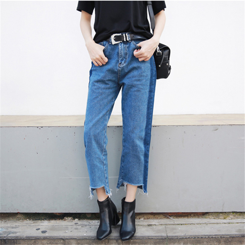 2017 new fashion korean style women jeans cropped high waist jean femme straight push up jeans. Black Bedroom Furniture Sets. Home Design Ideas