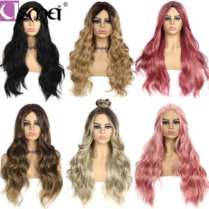 Image 5 - USMEI Long wavy wigs cosplay for women 26inches synthetic wig Blonde Brown Black Pink fake hair for choose 7 colors Ombre hair