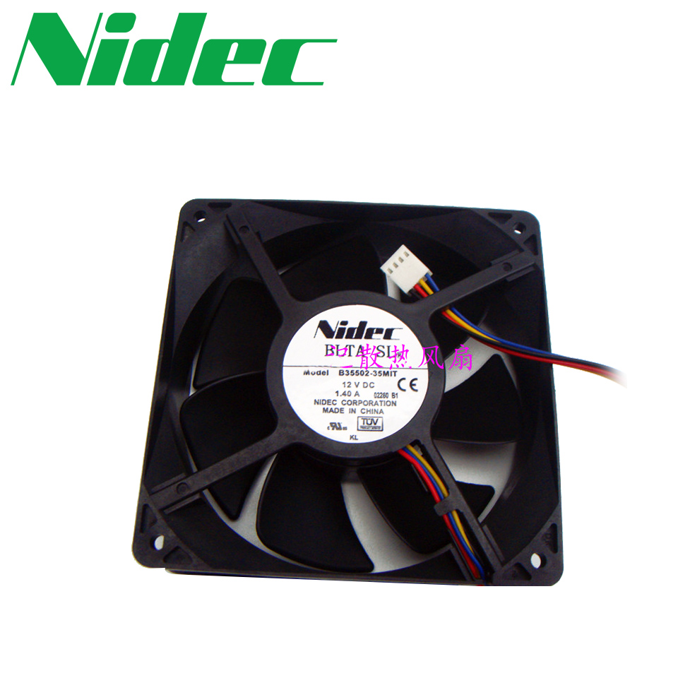 Nidec  Cooling fan For Nidec B35502-35MIT DC 12V 1.40A 4-wire 4-pin  120x120x38mm free shipping for delta ffr1212dhe sp02 dc 12v 6 3a 120x120x38mm 4 wire car booster fan